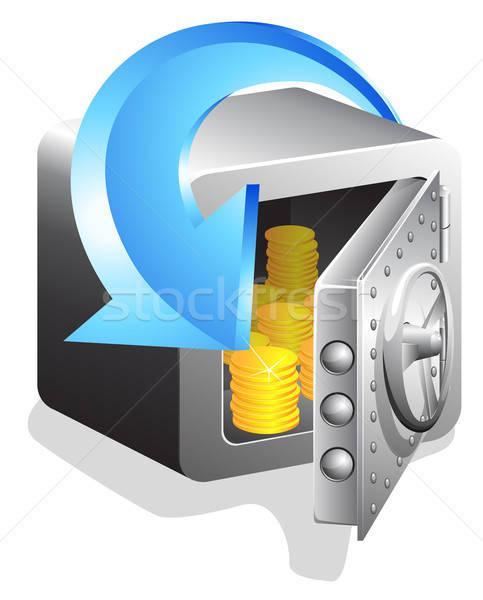 открытых безопасной Золотые монеты синий стрелка изолированный Сток-фото © ayaxmr