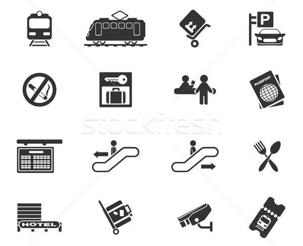 Estação de trem símbolos simplesmente teia usuário interface Foto stock © ayaxmr
