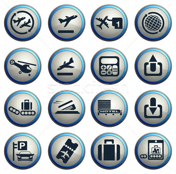 Airport icons set Stock photo © ayaxmr
