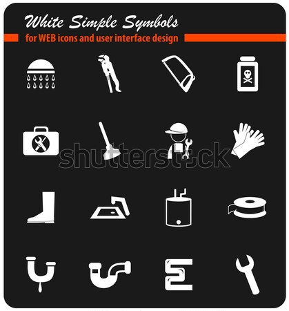 Plumbing icons set Stock photo © ayaxmr