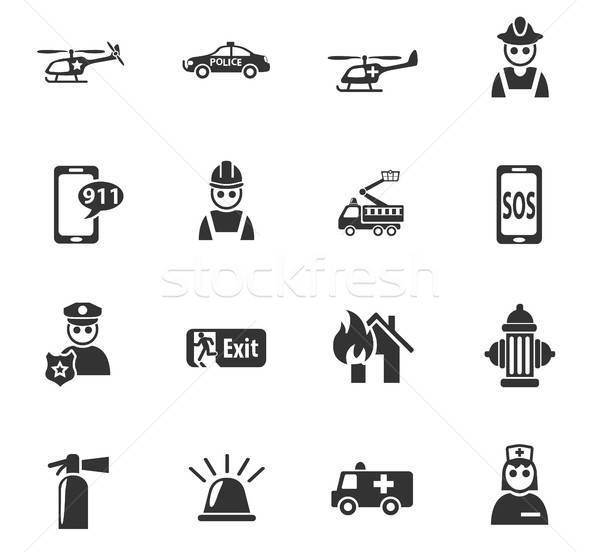 Stock photo: emergency icon set