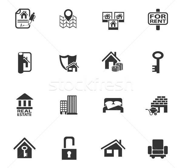 Immobilier icônes web utilisateur interface design Photo stock © ayaxmr
