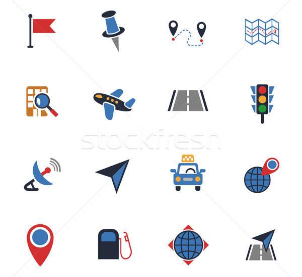 навигация транспорт карта веб-иконы пользователь Сток-фото © ayaxmr