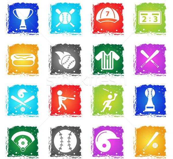 Baseball semplicemente icone simbolo grunge stile Foto d'archivio © ayaxmr