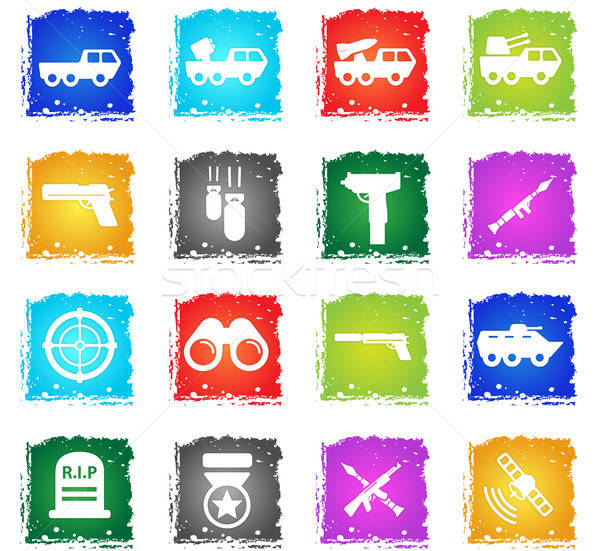 Military simply icons Stock photo © ayaxmr