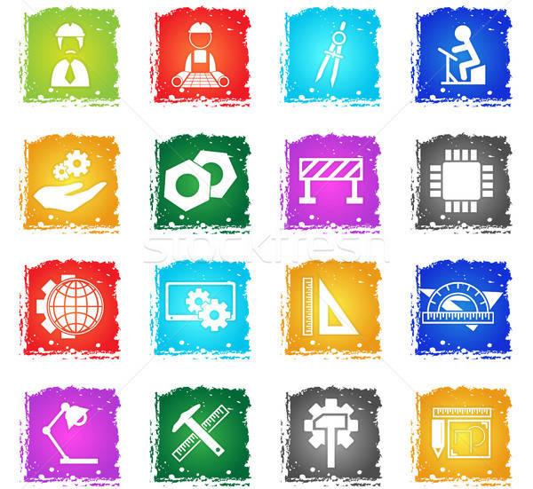 Mérnöki ikon gyűjtemény vektor webes ikonok grunge stílus Stock fotó © ayaxmr