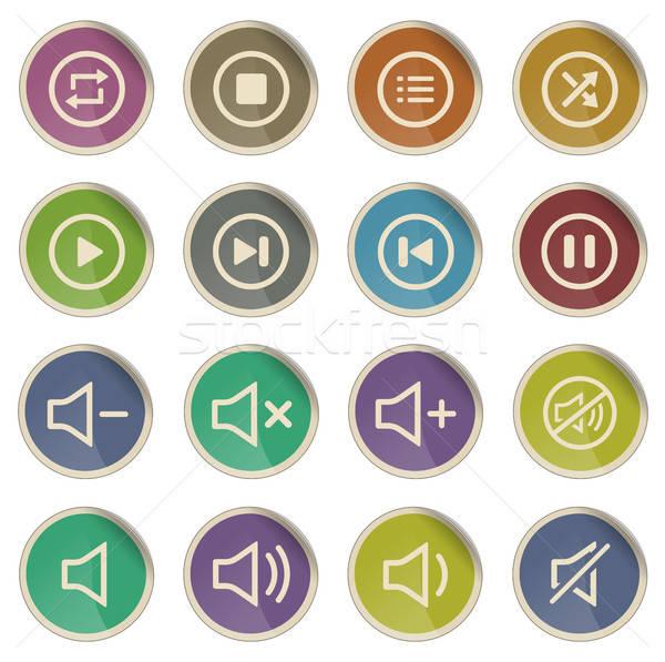 Media speler iconen label web gebruiker Stockfoto © ayaxmr