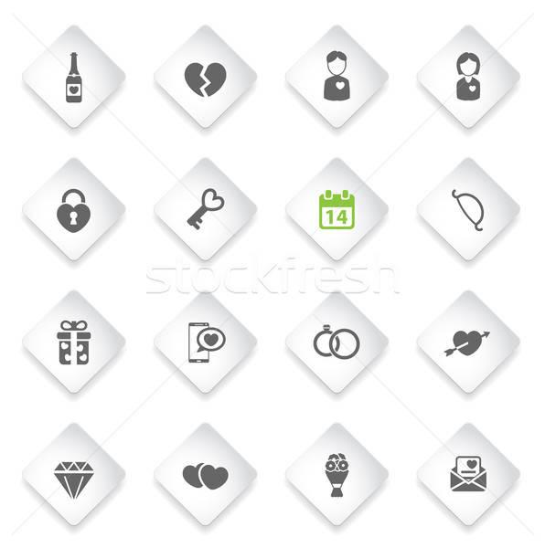 Dia dos namorados simplesmente ícones símbolos os ícones do web mulher Foto stock © ayaxmr