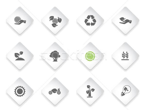 Ecology Icons set Stock photo © ayaxmr