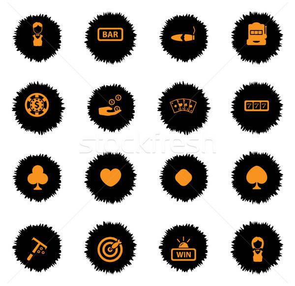 Kaszinó egyszerűen ikonok vektor háló felhasználó Stock fotó © ayaxmr