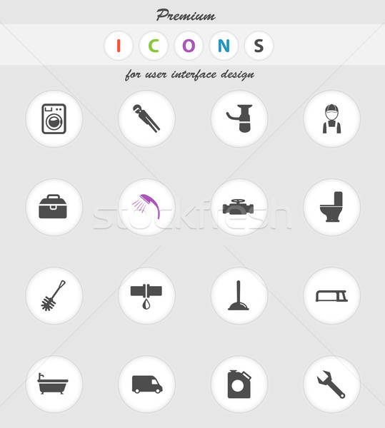 Plumbing service simply icons Stock photo © ayaxmr
