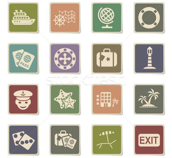 Hajóút ikon gyűjtemény webes ikonok felhasználó interfész terv Stock fotó © ayaxmr