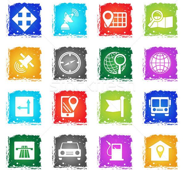 navigation icon set Stock photo © ayaxmr