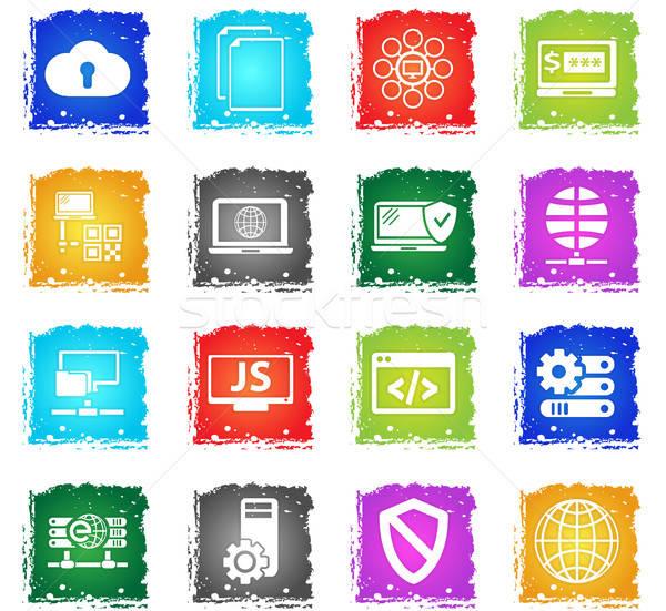 Server vettore icone web grunge stile Foto d'archivio © ayaxmr
