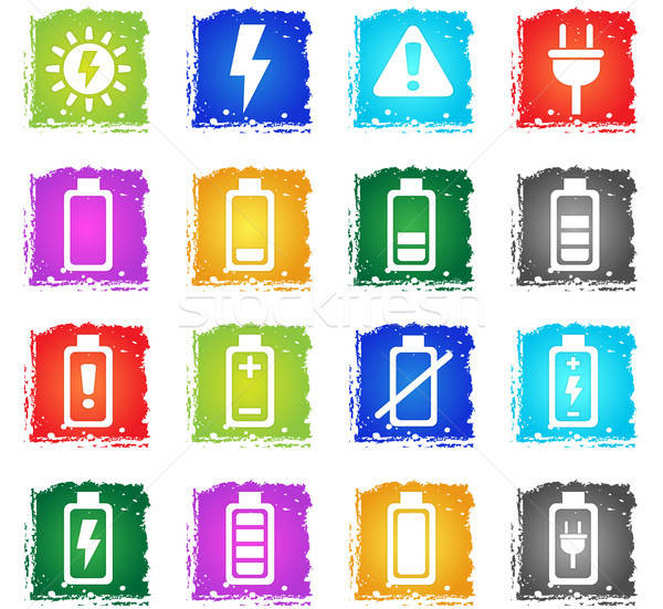 battery icon set Stock photo © ayaxmr