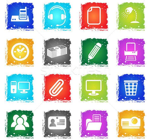 Escritório os ícones do web grunge estilo usuário Foto stock © ayaxmr