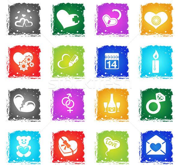 Valentin nap szeretet ikonok egyszerűen szimbólumok grunge Stock fotó © ayaxmr