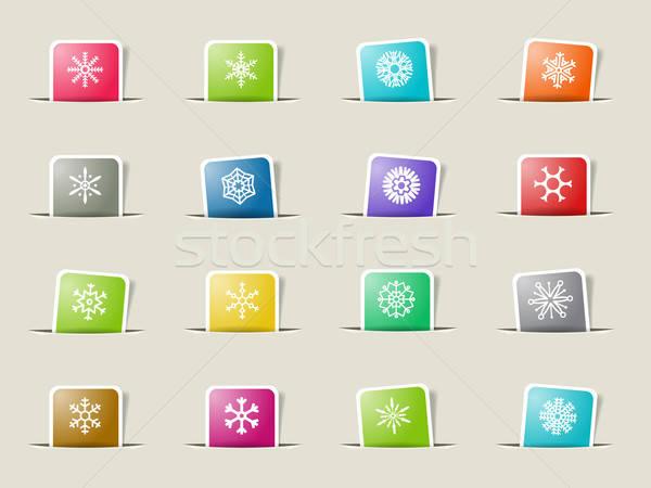 Sneeuwvlokken eenvoudig iconen vector web gebruiker Stockfoto © ayaxmr