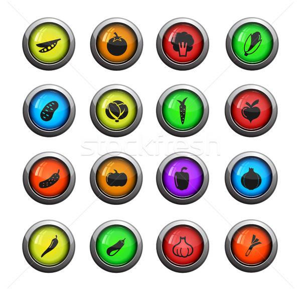 Stockfoto: Groenten · eenvoudig · iconen · vector · web · gebruiker