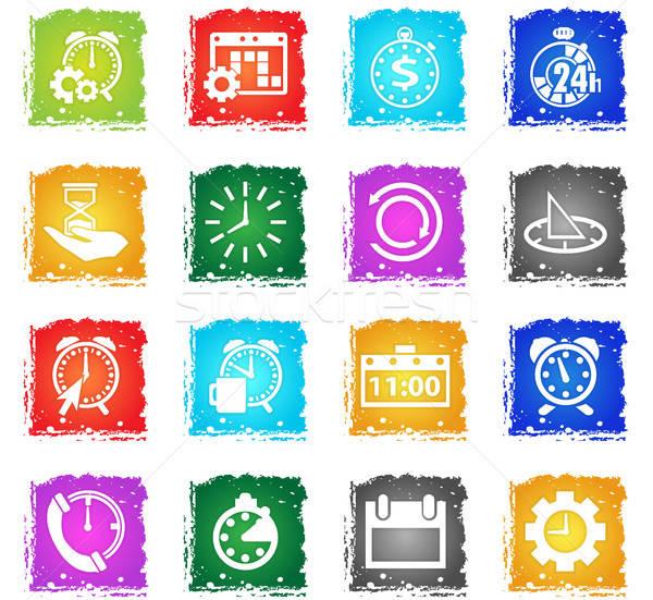 Idő ikon gyűjtemény vektor webes ikonok grunge stílus Stock fotó © ayaxmr