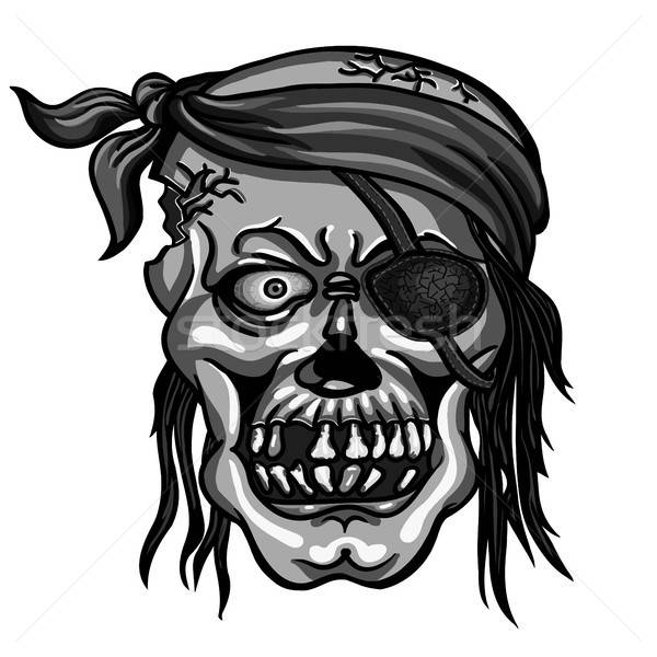 pirate skull in bandanna without one eye Stock photo © ayaxmr