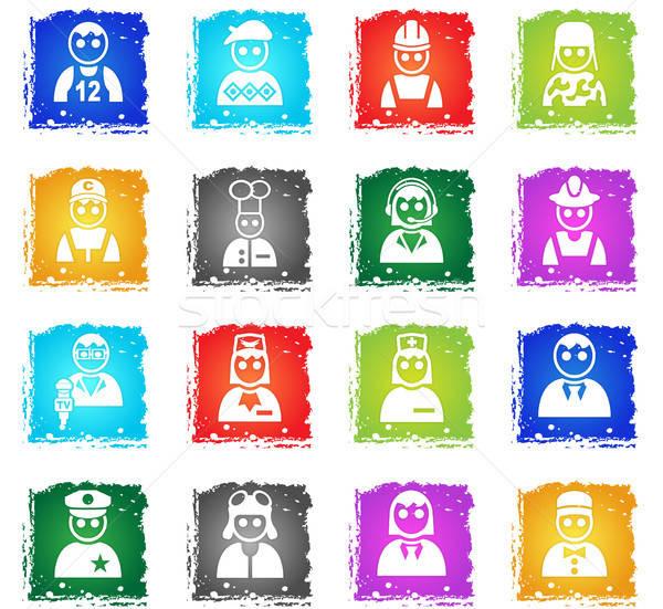 Foglalkozás ikon gyűjtemény webes ikonok grunge stílus felhasználó Stock fotó © ayaxmr