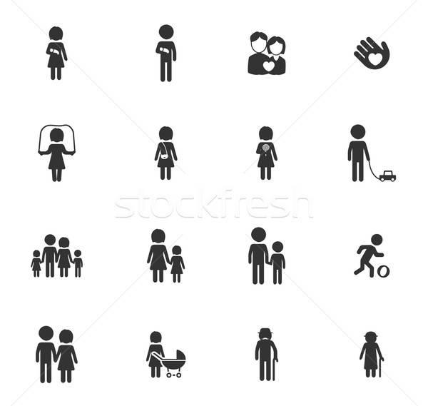 Família simplesmente ícones símbolos teia usuário Foto stock © ayaxmr