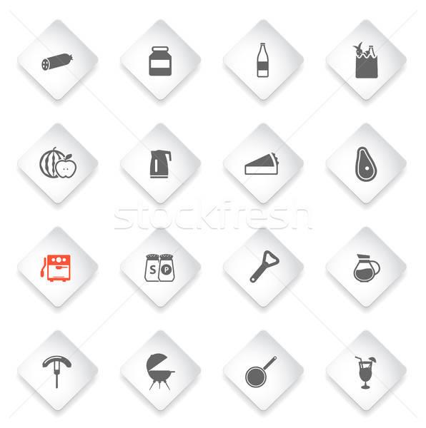 Сток-фото: продовольствие · кухне · просто · иконки · простой · веб