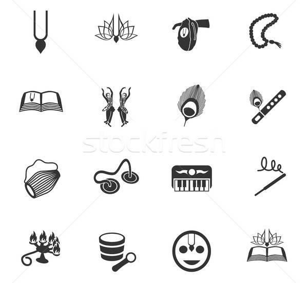 Nyúl krisna ikon gyűjtemény webes ikonok felhasználó interfész Stock fotó © ayaxmr