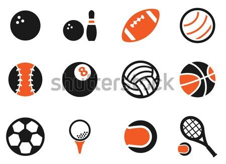 Stock fotó: Sportok · golyók · ikon · szett · egyszerűen · ikonok · háló