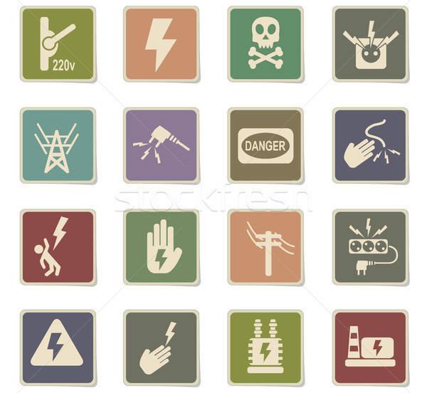 Nagyfeszültség ikon gyűjtemény webes ikonok felhasználó interfész terv Stock fotó © ayaxmr