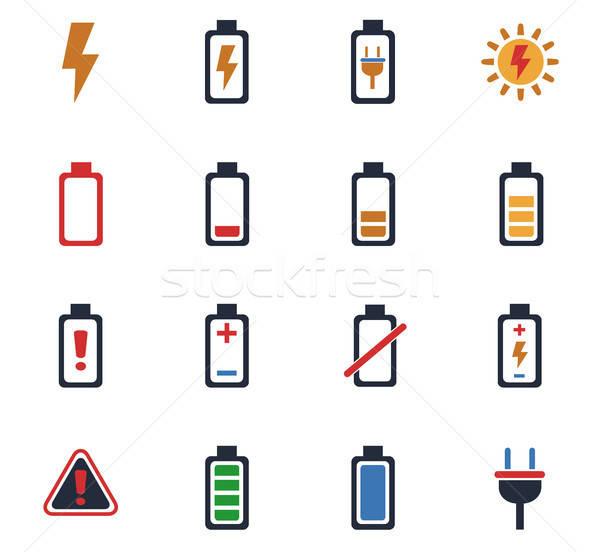 Batería iconos de la web usuario interfaz diseno Foto stock © ayaxmr
