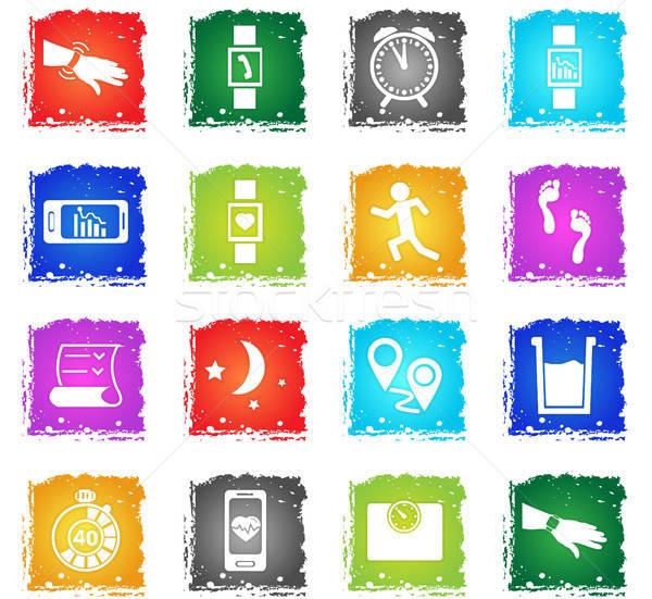 Jogging vector iconen web icons grunge Stockfoto © ayaxmr