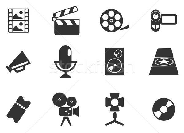 Filmindustrie iconen eenvoudig symbolen web gebruiker Stockfoto © ayaxmr