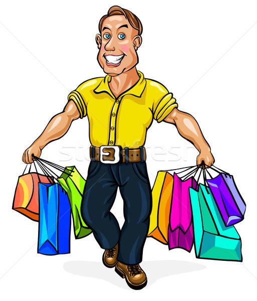 Feliz homem pacotes mão corpo compras Foto stock © ayaxmr