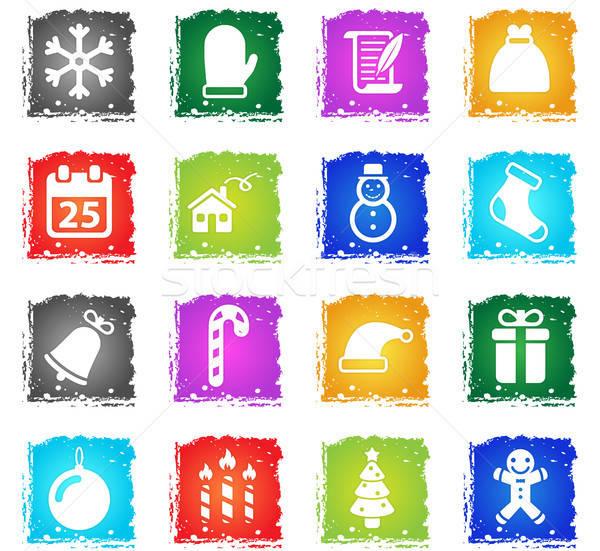 Natal simplesmente ícones símbolo grunge estilo Foto stock © ayaxmr