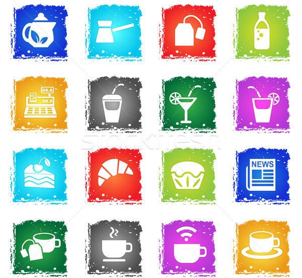 cafe icon set Stock photo © ayaxmr