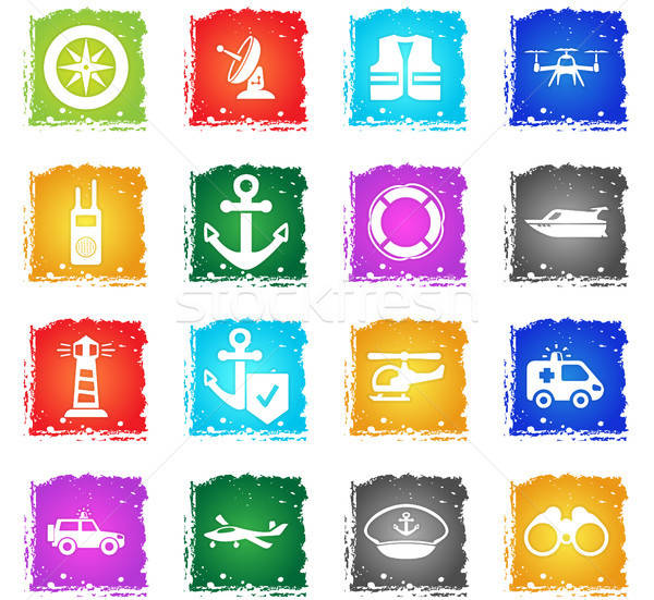 coast guard icon set Stock photo © ayaxmr