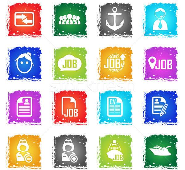 Iş arama vektör web simgeleri grunge stil Stok fotoğraf © ayaxmr