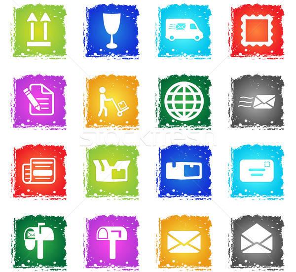 Postar serviço simplesmente ícones símbolo grunge Foto stock © ayaxmr