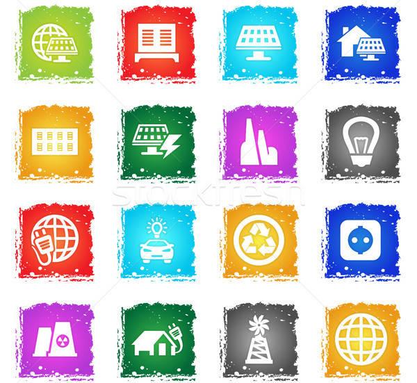 Alternatief energie web icons grunge stijl Stockfoto © ayaxmr