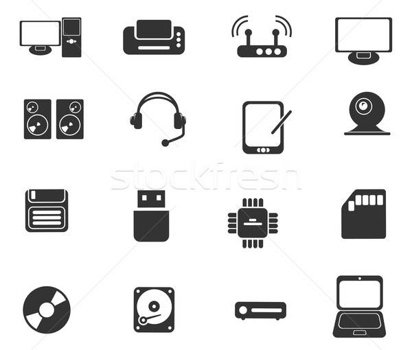 Számítógépes felszerelés egyszerű vektor ikonok egyszerűen szimbólumok Stock fotó © ayaxmr