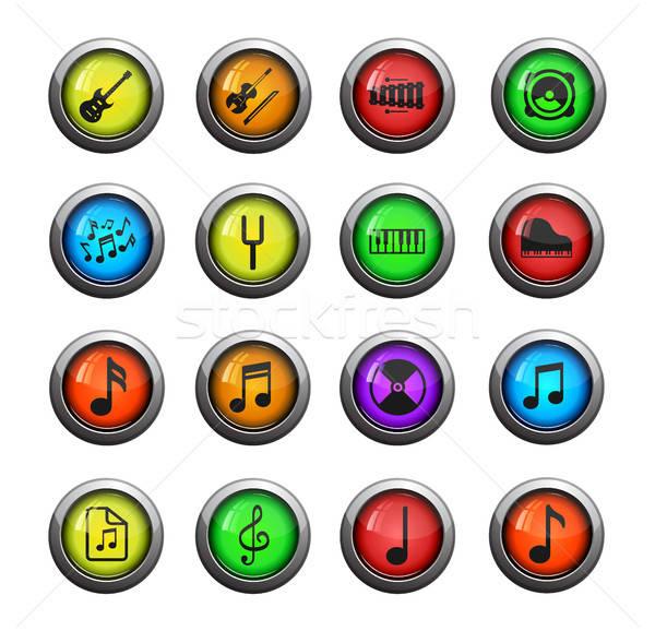 Zene egyszerűen ikonok egyszerű szín ikon Stock fotó © ayaxmr