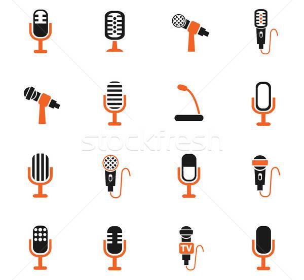 microphone icon set Stock photo © ayaxmr