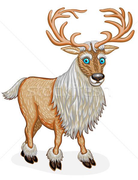 áll rénszarvas állat rajzfilmfigura izolált fehér Stock fotó © ayaxmr