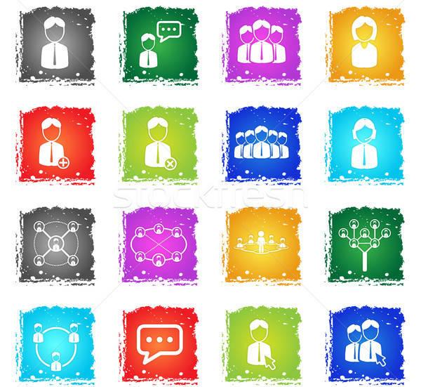 Comunidade simplesmente ícones símbolo grunge estilo Foto stock © ayaxmr