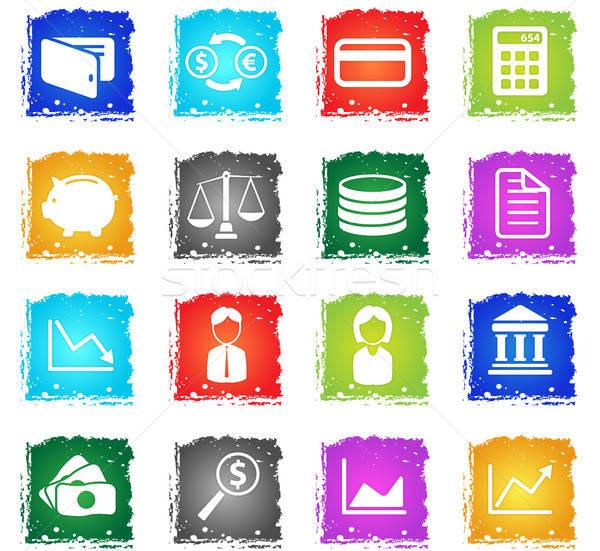 Financiar simplesmente ícones símbolo grunge estilo Foto stock © ayaxmr
