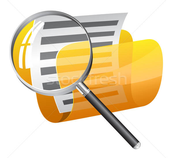 Yellow file folder with magnifying glass Stock photo © ayaxmr