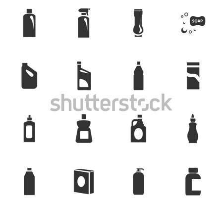 Háztartás vegyszerek ikon szett ikon gyűjtemény háló felhasználó Stock fotó © ayaxmr