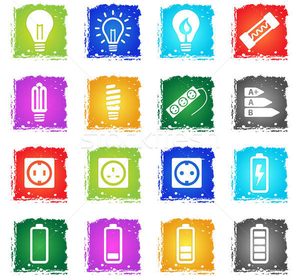 Electricity simply icons Stock photo © ayaxmr